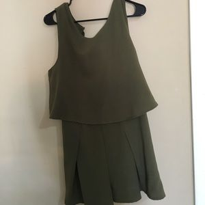 olive green romper - one piece